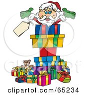 Jolly Santa Popping Out Of A Gift Box Surrounded By Christmas Presents Version 2
