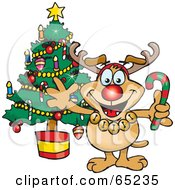Royalty Free RF Clipart Illustration Of A Sparkey Dog Wearing A Rudolph Costume And Standing By A Christmas Tree by Dennis Holmes Designs
