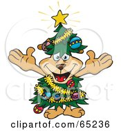 Royalty Free RF Clipart Illustration Of A Happy Sparkey Dog Wearing A Christmas Tree Costume by Dennis Holmes Designs