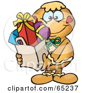Royalty Free RF Clipart Illustration Of A Jolly Gingerbread Man Carrying A Bag Full Of Christmas Presents by Dennis Holmes Designs