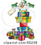 Royalty Free RF Clipart Illustration Of A Jolly Snowman Popping Out Of A Gift Box Surrounded By Christmas Presents Version 3