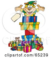 Royalty Free RF Clipart Illustration Of A Jolly Soarkey Dog Elf Popping Out Of A Gift Box Surrounded By Christmas Presents Version 2 by Dennis Holmes Designs