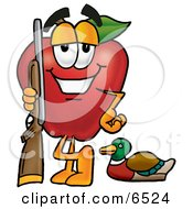 Red Apple Character Mascot Duck Hunting Standing With A Rifle And Duck Clipart Picture