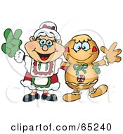 Royalty Free RF Clipart Illustration Of A Peaceful Mrs Claus And Gingerbread Man by Dennis Holmes Designs