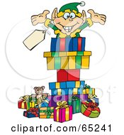 Royalty Free RF Clipart Illustration Of A Jolly Elf Popping Out Of A Gift Box Surrounded By Christmas Presents Version 2