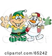Royalty Free RF Clipart Illustration Of A Peaceful Elf And Snowman