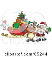 Royalty Free RF Clipart Illustration Of A Reindeer And Santa In Front Of A Sleigh At The North Pole by Dennis Holmes Designs