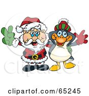 Royalty Free RF Clipart Illustration Of A Peaceful Santa And Penguin by Dennis Holmes Designs