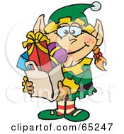 Royalty Free RF Clipart Illustration Of A Jolly Female Elf Carrying A Bag Full Of Christmas Presents