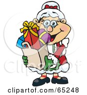 Royalty Free RF Clipart Illustration Of A Jolly Mrs Claus Carrying A Bag Full Of Christmas Presents by Dennis Holmes Designs