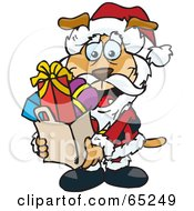 Royalty Free RF Clipart Illustration Of A Jolly Sparkey Dog Santa Claus Carrying A Bag Full Of Christmas Presents