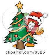 Red Apple Character Mascot With A Decorated Christmas Tree Clipart Picture