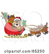 Royalty Free RF Clipart Illustration Of A Peaceful Santa Driving Sleigh With Two Reindeer by Dennis Holmes Designs