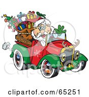 Royalty Free RF Clipart Illustration Of Santa Waving And Driving A Ute Truck Sleigh