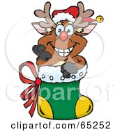 Royalty Free RF Clipart Illustration Of A Jolly Reindeer Nestled In A Christmas Stocking