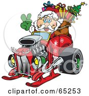 Royalty Free RF Clipart Illustration Of A Peaceful Santa Driving A Hotrod Sled