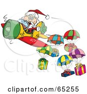 Royalty Free RF Clipart Illustration Of A Santa Flying A Plane And Dropping Presents On Parachutes