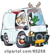 Friendly Santa Driving A Delivery Van
