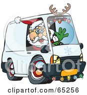 Royalty Free RF Clipart Illustration Of A Friendly Santa Driving A Delivery Van