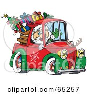 Royalty Free RF Clipart Illustration Of Santa Waving And Driving A Pickup Truck Sleigh