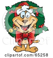 Royalty Free RF Clipart Illustration Of A Sparkey Dog Poking His Head Through A Christmas Holly Wreath by Dennis Holmes Designs