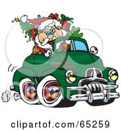 Royalty Free RF Clipart Illustration Of Santa Waving And Driving A Green Fj Holden Truck Sleigh