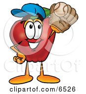 Red Apple Character Mascot Catching A Baseball With A Glove Clipart Picture