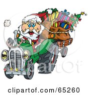 Royalty Free RF Clipart Illustration Of A Peaceful Santa Driving A Tractor Sled