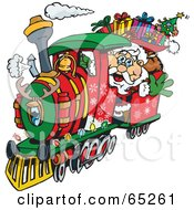 Royalty Free RF Clipart Illustration Of Santa Waving And Driving A Train Sleigh by Dennis Holmes Designs