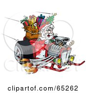 Royalty Free RF Clipart Illustration Of A Peaceful Santa Driving A Flaming Hotrod Sled