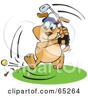 Sparkey Dog Swinging At A Golf Ball