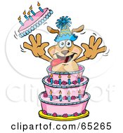 Sparkey Dog Bursting Out Of A Birthday Cake by Dennis Holmes Designs