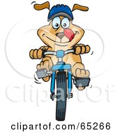 Royalty Free RF Clipart Illustration Of A Sparkey Dog Wearing A Helmet And Riding A Bike