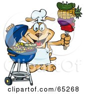 Royalty Free RF Clipart Illustration Of A Sparkey Dog Chef Barbecuing Veggies On A Charcoal Grill