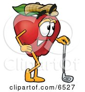 Red Apple Character Mascot Leaning On A Golf Club While Golfing Clipart Picture