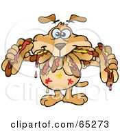 Royalty Free RF Clipart Illustration Of A Sparkey Dog Shoving Weenies In His Mouth At A Hot Dog Eating Contest by Dennis Holmes Designs