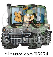 Royalty Free RF Clipart Illustration Of A Sparkey Dog Gesturing A Peace Sign And Driving A Camouflage Hummer by Dennis Holmes Designs