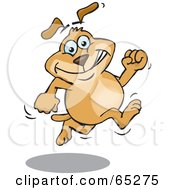 Royalty Free RF Clipart Illustration Of A Sparkey Dog Grinning And Running