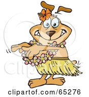 Royalty Free RF Clipart Illustration Of A Sparkey Dog Hula Dancing
