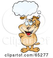 Royalty Free RF Clipart Illustration Of A Sparkey Dog With A Thought Bubble