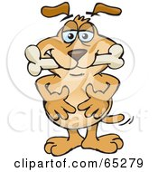 Royalty Free RF Clipart Illustration Of A Sparkey Dog With A Bone In His Mouth