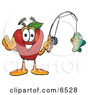 Red Apple Character Mascot Holding A Fish On A Fishing Pole Clipart Picture