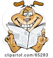 Royalty Free RF Clipart Illustration Of A Sparkey Dog Reading The Newspaper