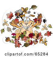 Royalty Free RF Clipart Illustration Of A Sparkey Dog Playing Around In Fall Leaves