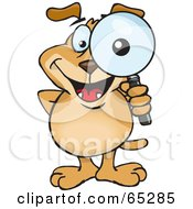 Royalty Free RF Clipart Illustration Of A Sparkey Dog Looking Through A Magnifying Glass His Eye Big