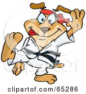 Royalty Free RF Clipart Illustration Of A Taekwondo Sparkey Dog by Dennis Holmes Designs