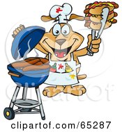 Royalty Free RF Clipart Illustration Of A Sparkey Dog Chef Barbecuing Hot Dogs On A Charcoal Grill