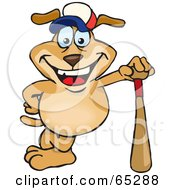 Royalty Free RF Clipart Illustration Of A Happy Sparkey Dog Leaning Against A Baseball Bat