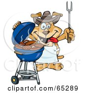 Royalty Free RF Clipart Illustration Of A Sparkey Dog Chef Barbecuing Steaks And Burgers On A Charcoal Grill