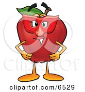 Red Apple Character Mascot Wearing A Red Mask On Halloween Clipart Picture